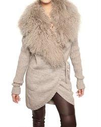 Dolce & Gabbana | Natural Mongolian Fur & Alpaca Wool Knit Sweater | Lyst