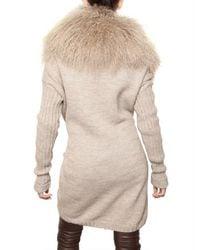 Dolce & Gabbana - Natural Mongolian Fur & Alpaca Wool Knit Sweater - Lyst