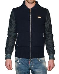 DSquared² - Blue Wool Knit and Denim Cardigan Sweater for Men - Lyst