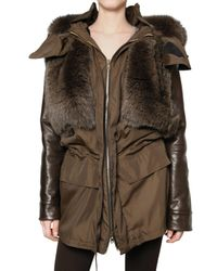 Givenchy | Brown Fox and Nylon Parka Down Jacket | Lyst