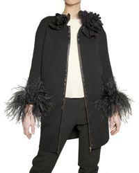 Lanvin | Black Ostrich Feather Cuffs Wool Knit Coat | Lyst