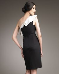 Valentino - Black One-shoulder Ruffle Dress - Lyst