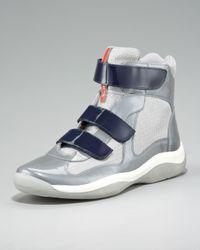 Prada | Blue Grip-strap High-top Sneaker | Lyst