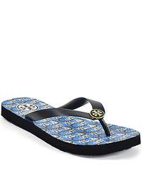 Tory Burch | Blue Flip Flop - Navy Rubber Thong Sandal | Lyst