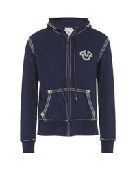 True Religion | Blue Qt Zip Hoodie for Men | Lyst