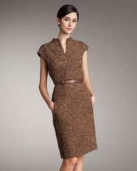 Akris | Brown Front-zip Belted Dress | Lyst