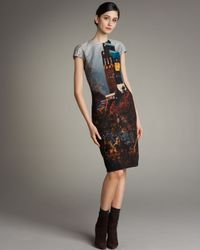 Akris | Brown Wedding Tower-print Shift Dress | Lyst