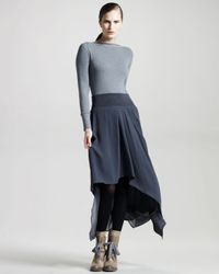 Brunello Cucinelli | Blue High-low Silk Skirt | Lyst