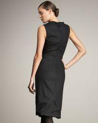 Carolina Herrera | Black Cowl-neck Sheath Dress | Lyst