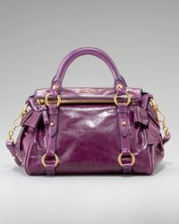 Miu Miu - Purple Mini Vitellow Lux Bow Bag, Eggplant - Lyst