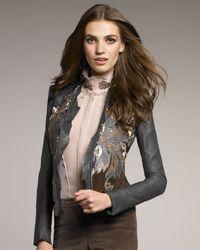 Roberto Cavalli | Blue Feather-applique Leather Jacket | Lyst