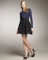 Zac Posen | Black Plisse Flare Party Skirt | Lyst