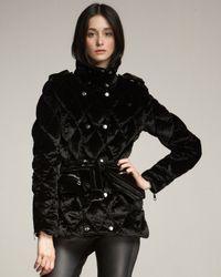 Burberry | Black Velvet Puffer Jacket | Lyst