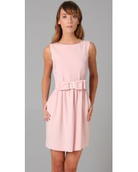 RED Valentino - Pink Sleeveless Dress with Bow - Lyst