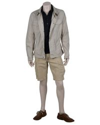 C P Company - Gray Linen Mix Shorts for Men - Lyst
