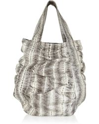 Beirn - Gray Jenna Ruched Snakeskin Tote - Lyst