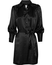Halston | Black Silk-satin Shirt Dress | Lyst