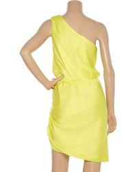 Halston - Yellow Silk-blend Satin One-shoulder Dress - Lyst