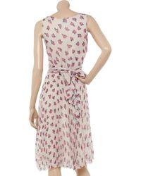 Luisa Beccaria - Pink Floral-print Plissé Silk-chiffon Dress - Lyst