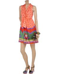 Manoush - Orange Circus-print Silk Dress - Lyst