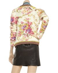 Manoush - White Appliqué Printed Wool Jacket - Lyst