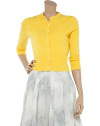 N.Peal Cashmere | Yellow Cropped Cashmere Cardigan | Lyst