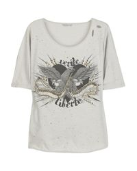Sass & Bide | Gray Verite Et Liberte Embellished Cotton T-shirt | Lyst