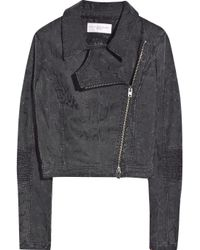 Stella McCartney | Black Printed Cropped Denim Jacket | Lyst