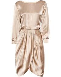 Thakoon Addition - Natural Draped Silk-satin Dress - Lyst