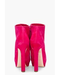 Alexander McQueen - Pink Suede Ankle Boots - Lyst