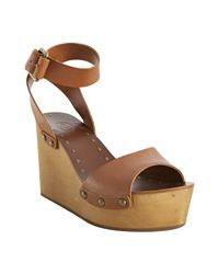 Ash | Brown Cognac Leather and Wood Vivian Wedges | Lyst
