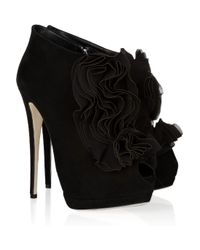 Giuseppe Zanotti - Black Ruffle-front Suede Ankle Boots - Lyst