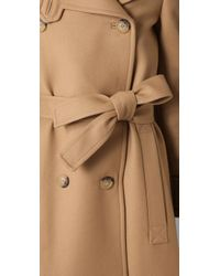 See By Chloé - Natural Double Breasted Long Coat - Lyst
