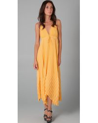 Alice + Olivia | Yellow Adalyn Pleated Maxi Dress | Lyst