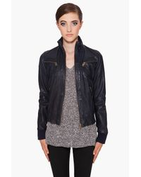 McQ | Blue Leather Bomber Jacket | Lyst