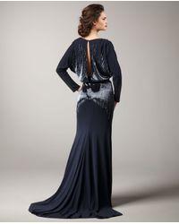 Naeem Khan | Blue Deep-v Sequin Gown | Lyst