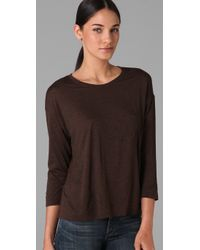 Vince - Brown Pocket 3/4 Sleeve Tee - Lyst