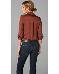 Vince | Brown Cowl Neck Blouse | Lyst