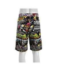 Robert Graham | Black and White Multicolor Graffiti Print Coracle Board Shorts for Men | Lyst