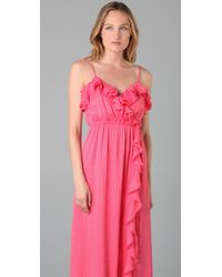 MILLY - Pink Stephanie Maxi Dress - Lyst