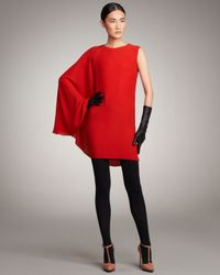 Lanvin - Red Cape-sleeve Dress - Lyst