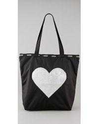 LeSportsac | Black Sequin Heart Medium Shopper | Lyst