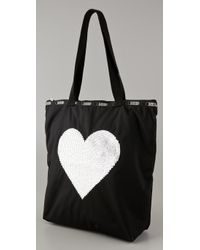 LeSportsac - Black Sequin Heart Medium Shopper - Lyst