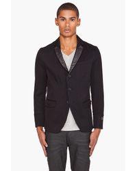 DIESEL | Joppo Leather Trim Blazer Black for Men | Lyst