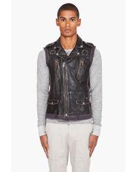 DIESEL | Black Limaya Leather Vest for Men | Lyst