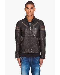 DIESEL   Black Lujon Leather Jacket for Men   Lyst