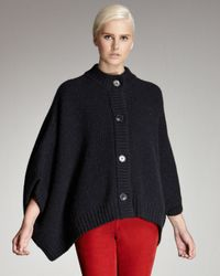 Stella McCartney | Blue Button-front Knit Poncho | Lyst