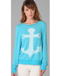 Wildfox | Blue Cruise Baggy Beach Sweatshirt | Lyst
