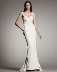 Zac Posen - White Pleated Bustier Mermaid Gown - Lyst