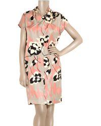 DKNY | Pink Floral-print Silk Dress | Lyst